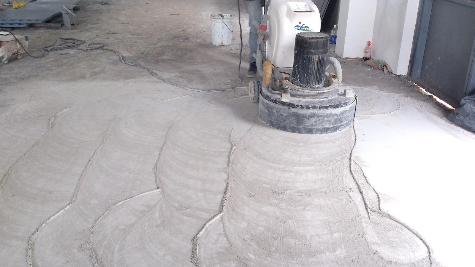 Mài sàn bê tông cần sử dụng nhiều máy móc và hóa chất